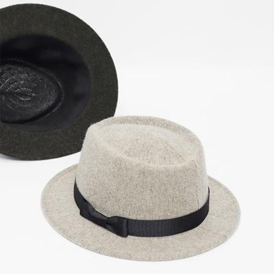 남녀공용 울 버킷 리본 페도라 모자