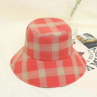 남녀공용 캐주얼 체크 와이드 벙거지 버킷 모자