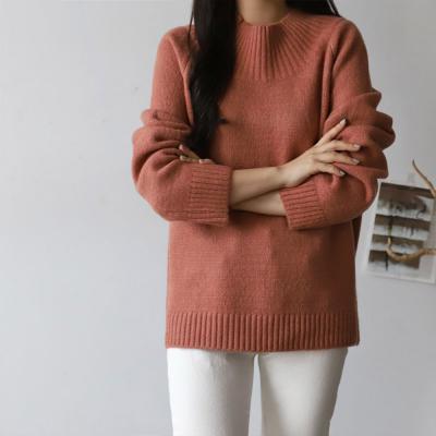 여성 포인트 골지넥 5컬러 오버핏 니트티셔츠