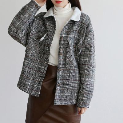 여성 투포켓 뽀글이 양털 이너 글렌 체크 자켓