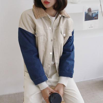 여자 4컬러 믹스 데님 코듀로이 털안감 양털 자켓