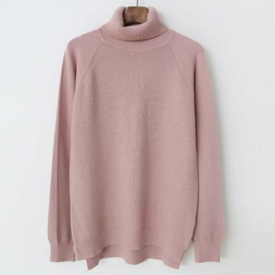 여성 무지 5컬러 언발 핑크 터틀넥 니트티셔츠