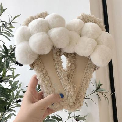 여자 겨울 부들 폼폼 4컬러 뽀글이 양털 슬리퍼