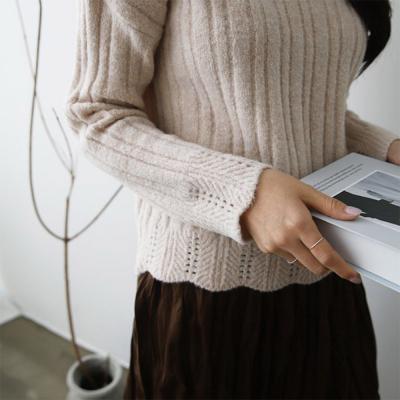 여성 물결 무늬 포인트 목폴라 울 니트티셔츠
