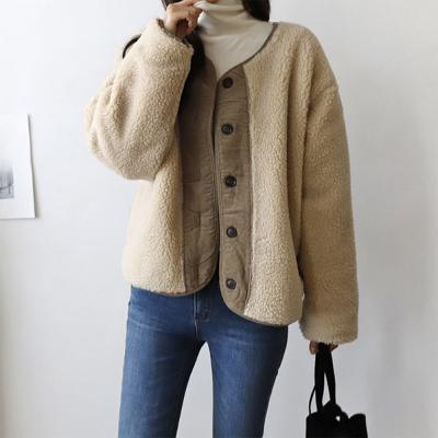 여성 4컬러 오버핏 누빔 코듀로이 덤블 양털 자켓
