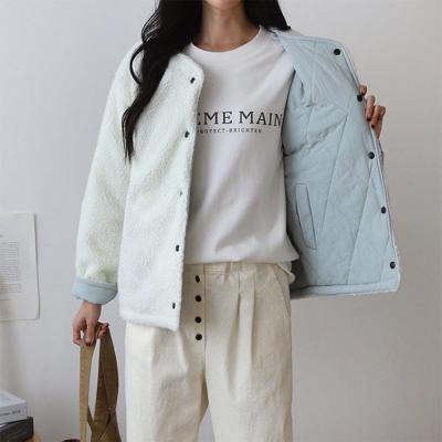 여성 다이아 누빔 리버시블 양면 뽀글이 양털 자켓