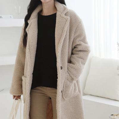 여성 겨울 베이직 투포켓 빅사이즈 덤블 양털 롱 자켓