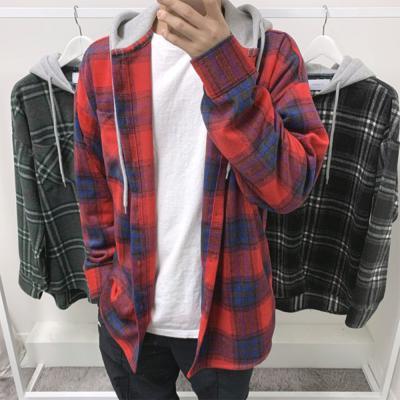 남성 기모 타탄 체크 후드 셔츠 남방