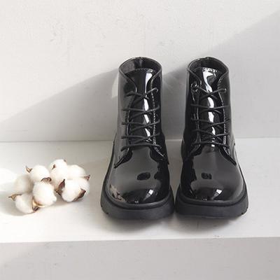 여성 겨울 기본 블랙 가죽 스트랩 워커 부츠