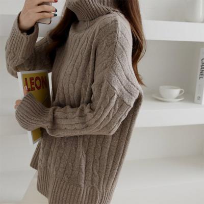 여성 겨울 브라운 꽈배기 터틀넥 목폴라 니트티셔츠