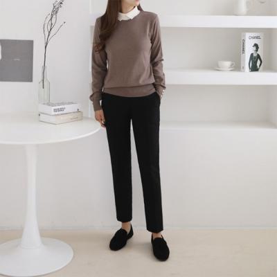 여성 카라 라운드 니트 싱글 레이어드 긴팔 반목 티셔츠
