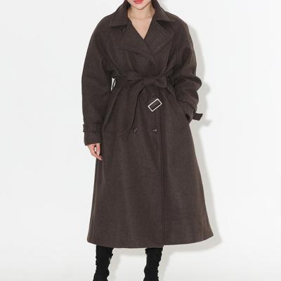 여자 겨울 누빔안감 더블 버튼 루즈핏 로브 벨트 롱 코트