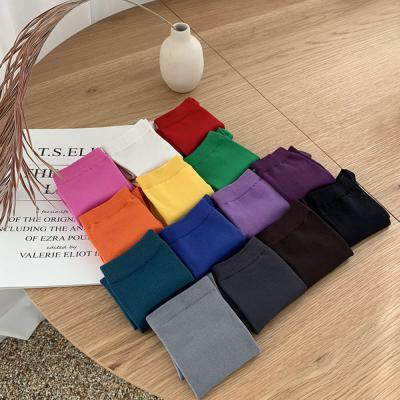여자 사계절 데일리 무지 민무늬 컬러 스판 긴목 양말