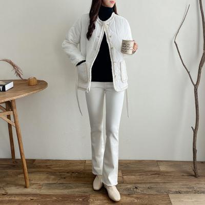 여자 트위드 누빔 패딩 벨트 허리띠 자켓 점퍼