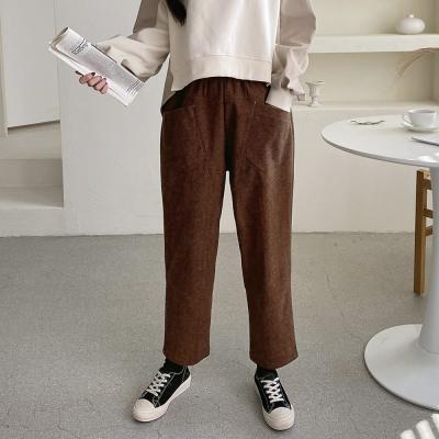 여자 겨울 울소재 포켓주머니 오버핏 통바지 팬츠