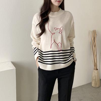 여성 겨울 반목폴라 줄무늬 단가라 긴팔 니트 티셔츠