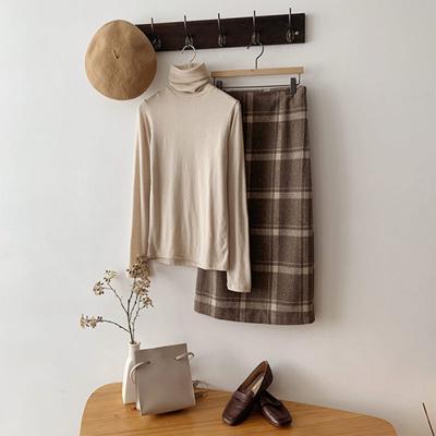 [1+1] 여자 베이직 폴라넥 목폴라 울 긴팔 티셔츠