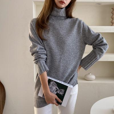 여자 하이넥 목폴라 캐시미어 울니트 따뜻한 티셔츠