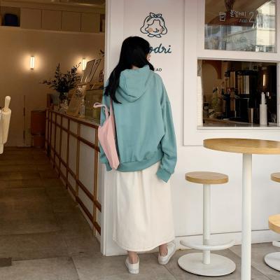 여자 해피 루즈핏 캥거루 기모 후드 티셔츠