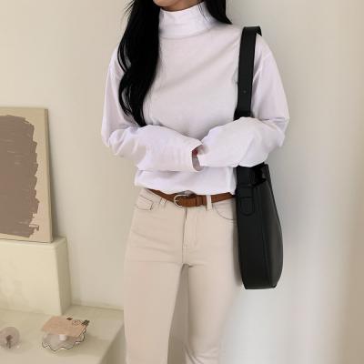 여자 반목 폴라 하이넥 이너티 롱 티셔츠