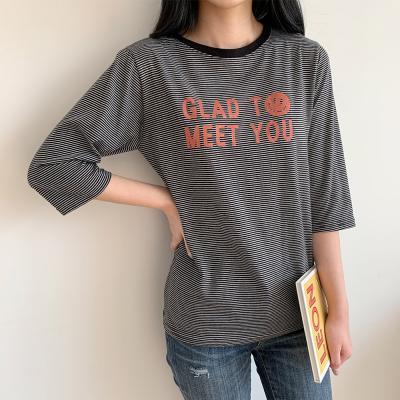 [1+1] 여자 단가라 레터링 7부소매 줄무늬 티셔츠