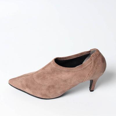 여자 겨울 기모 뾰족코 신발 스웨이드 하이힐 구두