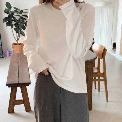 여자 모달 스판 기모 루즈핏 롱슬리브 긴팔 티셔츠