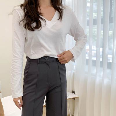여성 가을 봄 브이넥 데일리룩 긴팔 티셔츠