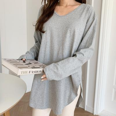여성 오버핏 빅사이즈 라운드넥 트임 롱 긴팔 티셔츠
