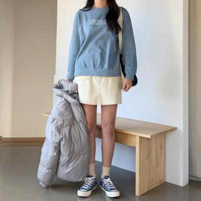 여자 가을 겨울 기본 영어레터링 기모 맨투맨 티셔츠