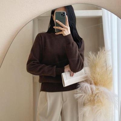 여자 겨울 부드러운 하이넥 무지 목폴라 니트 티셔츠