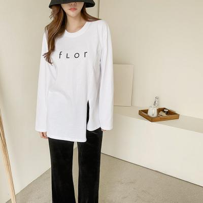 여자 앞트임 기본 무난한 배색 레터링 긴 면 티셔츠