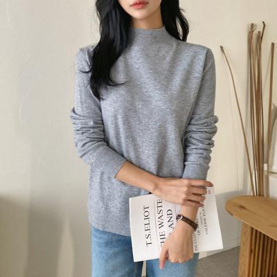 여자 겨울 캐시미어 반목 따뜻한 모크넥 기본 티셔츠