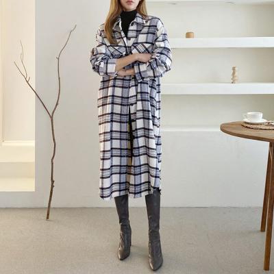 여자 체크무늬 자켓 남방 울소재 따뜻한 롱원피스