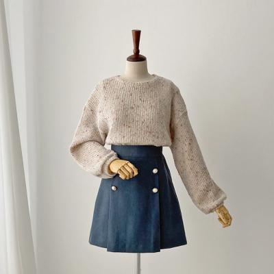 여자 가을 겨울 보카시 팝콘 U넥 스웨타 티셔츠