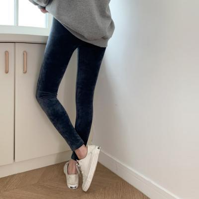 여자 겨울 따뜻한 융단 바지 벨벳 스판 레깅스 팬츠