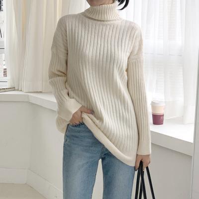 여자 가을 겨울 스판좋은 골지 폴라넥 롱 니트 티셔츠