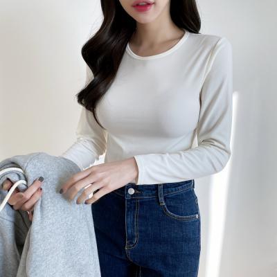 여자 겨울 기모 히트텍 상의 라운드넥 긴팔 티셔츠