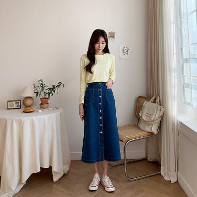 여자 기본 데일리 무지 민무늬 U넥 면티 긴팔 티셔츠