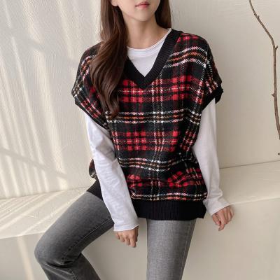 여자 가을 겨울 글렌 체크 패턴 울 족기 조끼 티셔츠