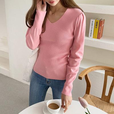 여자 봄 가을 셔링 브이넥 슬림핏 골지 긴팔 티셔츠