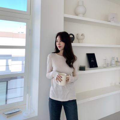 여자 기본 얇은 스웨터 핸드워머 이너 골지 티셔츠