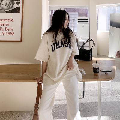 여자 겨울 기모 라운드넥 레터링 반팔 티셔츠