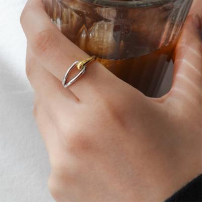 여자 반반 꼬임 콤비 시크 심플 모던 링 얇은 반지