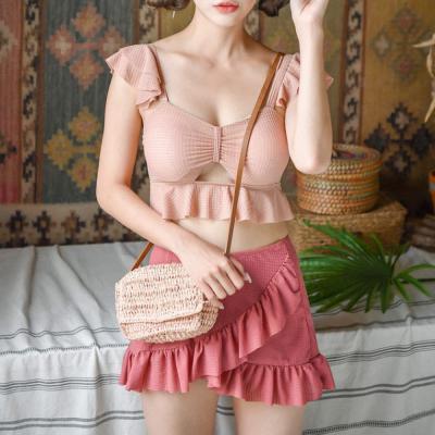 여자 귀여운 프릴 치마 바지 쓰리피스 수영복
