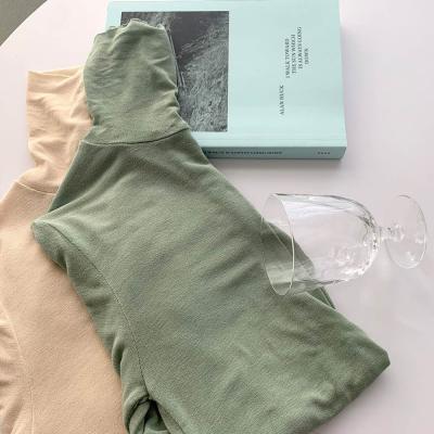 여자 가을 겨울 기본 이너 스판 하이넥 폴라 티셔츠