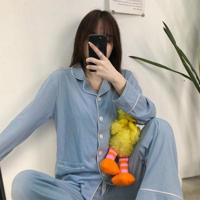 여자 스트라이프 카라 심플 파자마 잠옷 세트