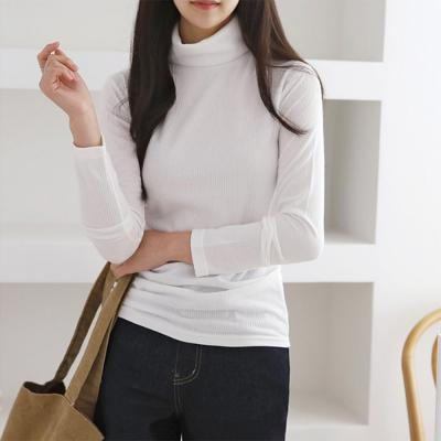 여성 봄 베이직 컬러 골지 스판 목폴라 티셔츠