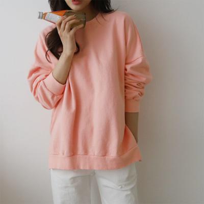 여성 3컬러 봄 라운드 심플 맨투맨 티셔츠