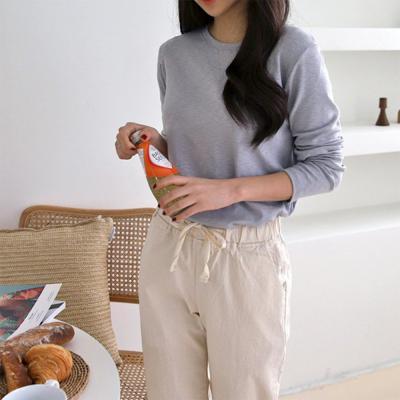 여성 심플 부드러운 찰랑 편한 긴팔 티셔츠